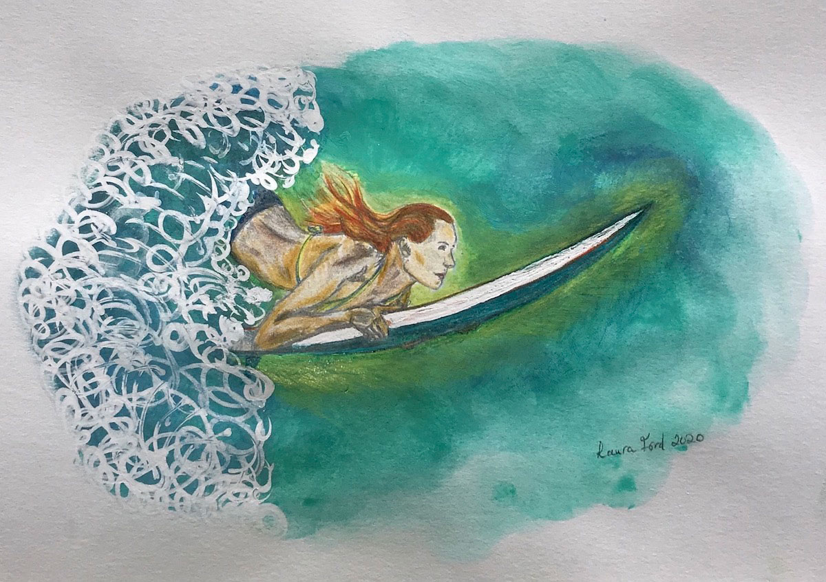 The Heart girl surfing